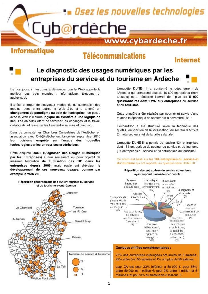 Le diagnostic des usages numériques par les              entreprises du service et du tourisme en ArdècheDe nos jours, il ...