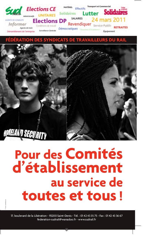 FÉDÉRATION DES SYNDICATS DE TRAVAILLEURS DU RAIL                      Pour des Comités                    d'établissement ...