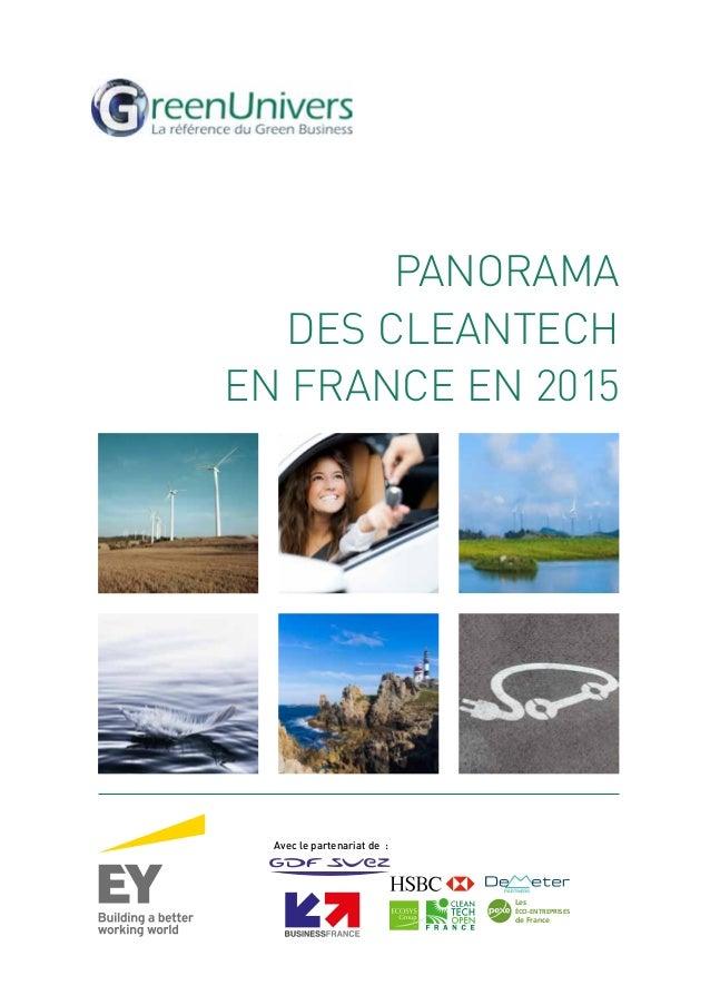 PANORAMA DES CLEANTECH EN FRANCE EN 2015 Avec le partenariat de: Les ÉCO-ENTREPRISES de France France ÉCO-TECH
