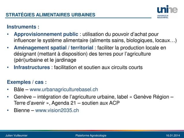 STRATÉGIES ALIMENTAIRES URBAINES  Instruments : • Approvisionnement public : utilisation du pouvoir d'achat pour influence...