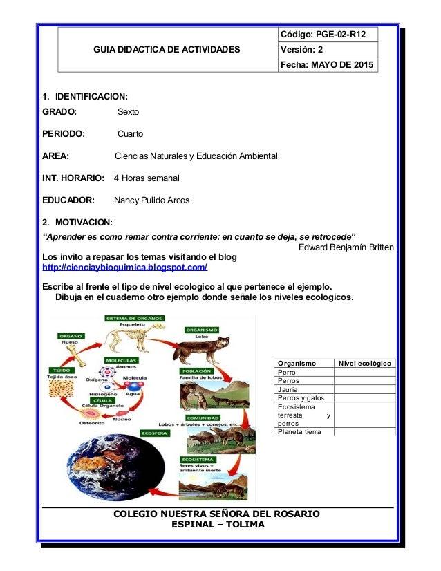 GUIA DIDACTICA DE ACTIVIDADES Código: PGE-02-R12 Versión: 2 Fecha: MAYO DE 2015 1. IDENTIFICACION: GRADO: Sexto PERIODO: C...
