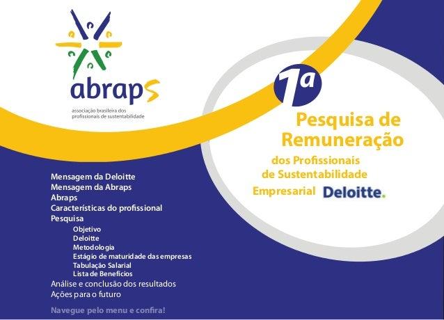 Pesquisa de Mensagem da Deloitte Mensagem da Abraps Abraps Características do profissional Pesquisa  Objetivo Deloitte ...