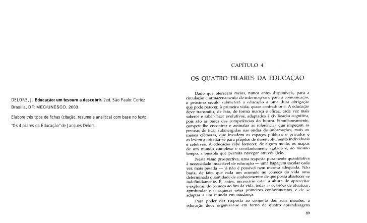 DELORS, J. Educação: um tesouro a descobrir. 2ed. São Paulo: CortezBrasília, DF: MEC/UNESCO, 2003.Elabore três tipos de fi...