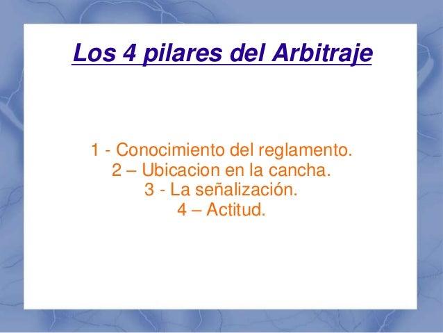 Los 4 pilares del Arbitraje 1 - Conocimiento del reglamento. 2 – Ubicacion en la cancha. 3 - La señalización. 4 – Actitud.