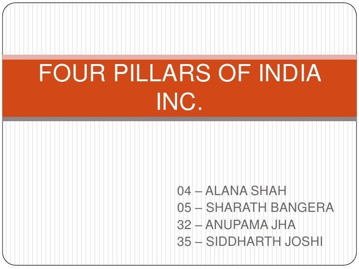04 – ALANA SHAH<br />05 – SHARATH BANGERA<br />32 – ANUPAMA JHA<br />35 – SIDDHARTH JOSHI<br />FOUR PILLARS OF INDIA INC.<...