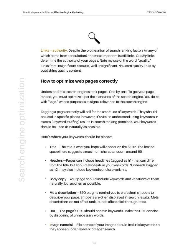 The 4 Indispensable Pillars of Effective Digital Marketing Feldman Creative Links = authority. Despite the proliferation o...