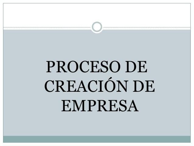PROCESO DE CREACIÓN DE EMPRESA