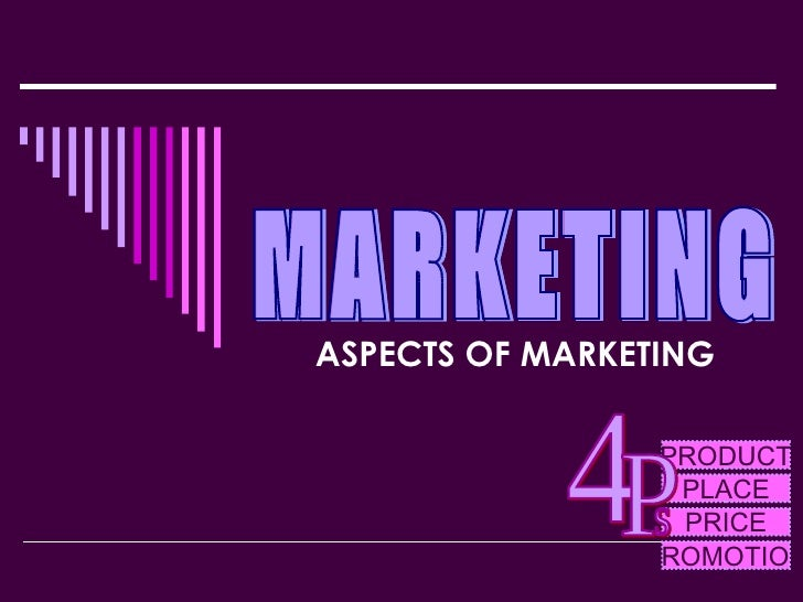 ASPECTS OF MARKETING MARKETING PRODUCT PLACE PRICE PROMOTION 4 P s