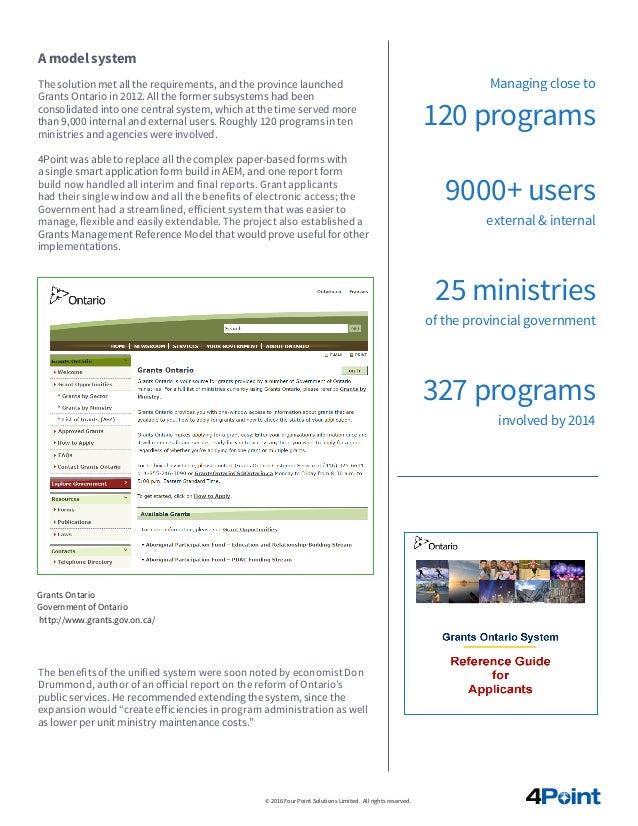 """""""Grants Ontario"""" case study Slide 3"""