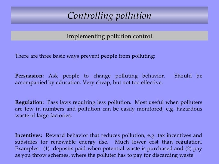 how to control pollution in points