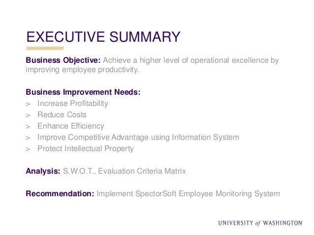 executive summary of performance appraisal project The executive summary of an evaluation report is a shortened version of a full report it highlights evaluation findings and recommendations, but may also include a brief overview of the evaluation purpose, key evaluation questions, and the research options used.