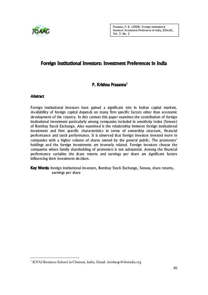 Prasanna, P. K. (2008). Foreign Institutional                                                       Investors: Investment ...