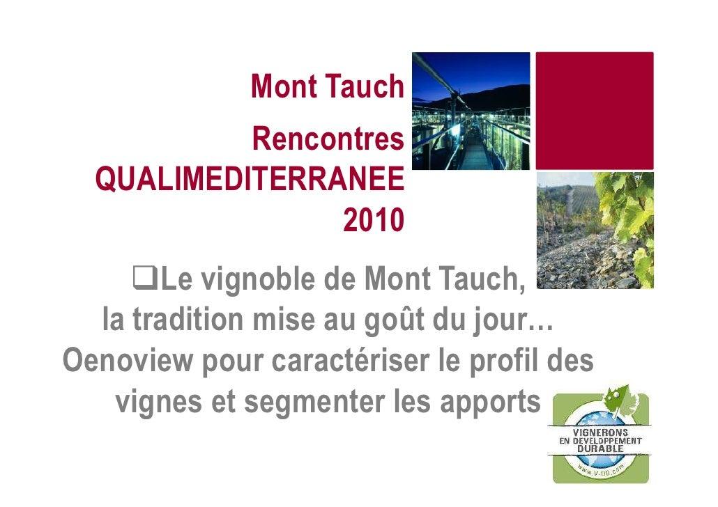 Mont Tauch           Rencontres  QUALIMEDITERRANEE                2010       Le vignoble de Mont Tauch,  la tradition mise...