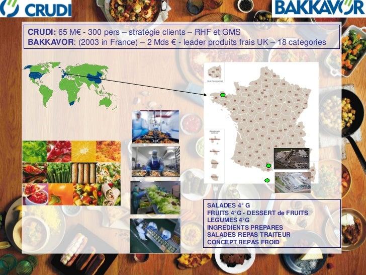 CRUDI: 65 M€ - 300 pers – stratégie clients – RHF et GMSBAKKAVOR: (2003 in France) – 2 Mds € - leader produits frais UK – ...
