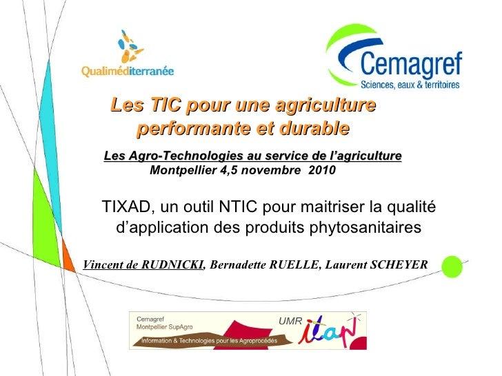 Ticsad, un outil NTIC pour maitriser la qualité d'application des produits phytosanitaires