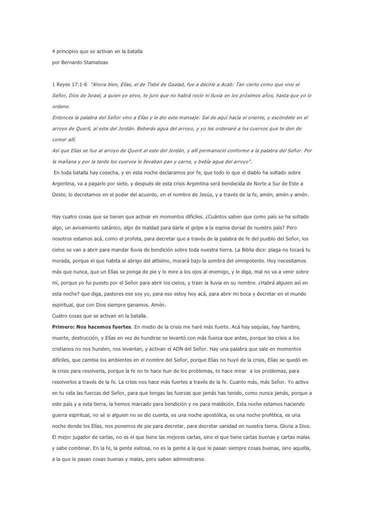 """4 principios que se activan en la batalla<br />por Bernardo Stamateas<br /><br />1 Reyes 17:1-6 """"Ahora bien, Elías, el d..."""