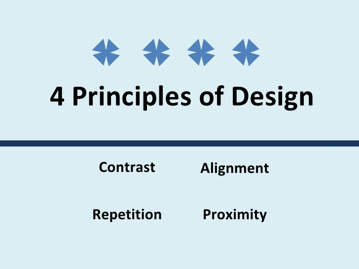 4 Principles of Design  Contrast Repetition Alignment Proximity