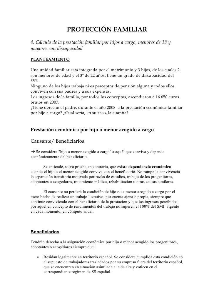 PROTECCIÓN FAMILIAR 4. Cálculo de la prestación familiar por hijos a cargo, menores de 18 y mayores con discapacidad  PLAN...