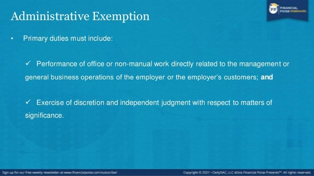 Computer Employee Exemption • Includes persons employed as:  Computer systems analysts  Computer programmers  Software ...