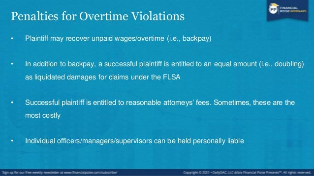 Alternatives to Overtime • Employers may chose other methods to compensate for additional time worked: • For example:  Co...