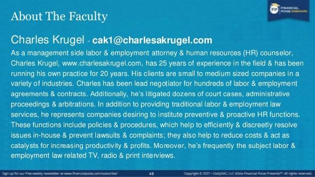 About The Faculty Gary Savine - gnoah@savinelaw.com Gary Noah Savine is an employment lawyer and the founder of Chicago-ba...