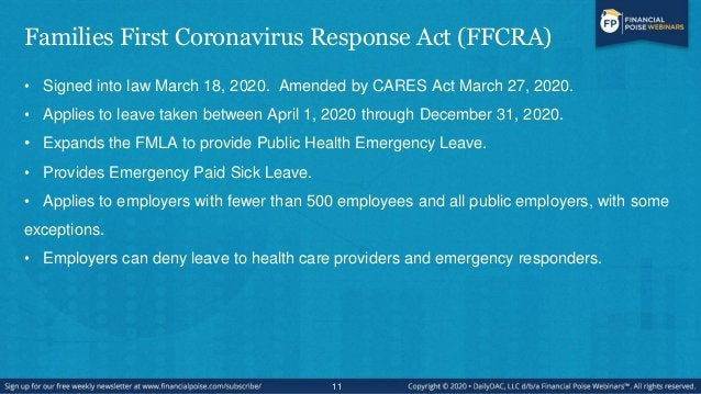 """FFCRA – Public Health Emergency Leave – Eligibility/Qualifications • Provides up to 12 weeks of FMLA leave as """"Public Heal..."""