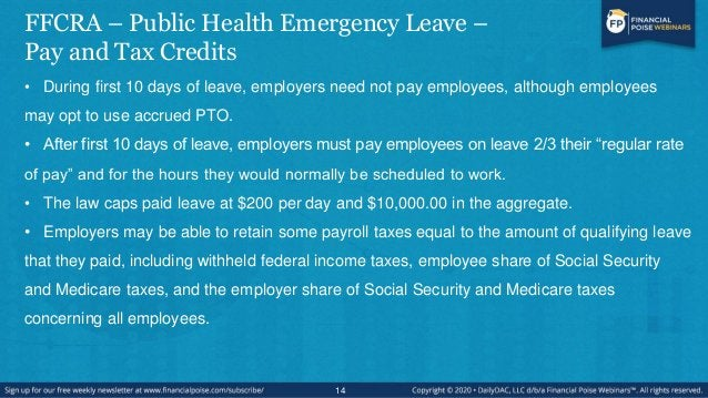 FFCRA - Public Health Emergency Leave - Qualifications • To qualify for leave, an employee must be unable to work (or tele...