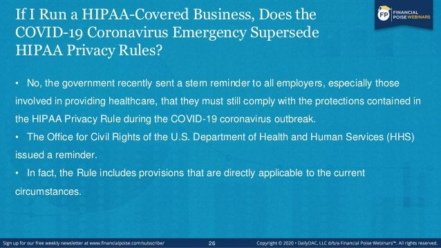 What are Employers' Obligations Under the HIPAA Privacy Rules if they are Contacted by Officials Asking for Emergency Pers...