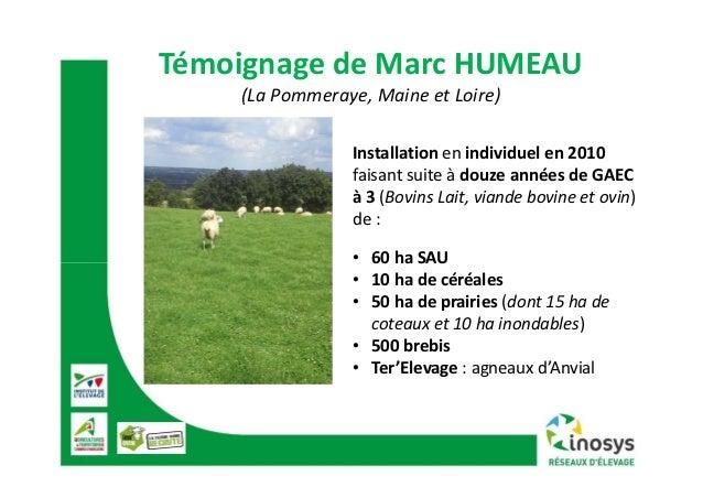 TémoignagedeMarcHUMEAU (LaPommeraye,MaineetLoire) Installation enindividuelen2010 faisantsuiteàdouzeannées...