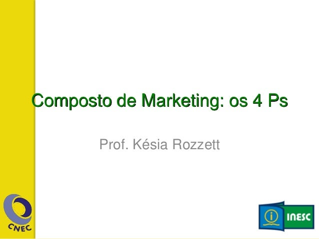 Composto de Marketing: os 4 Ps Prof. Késia Rozzett