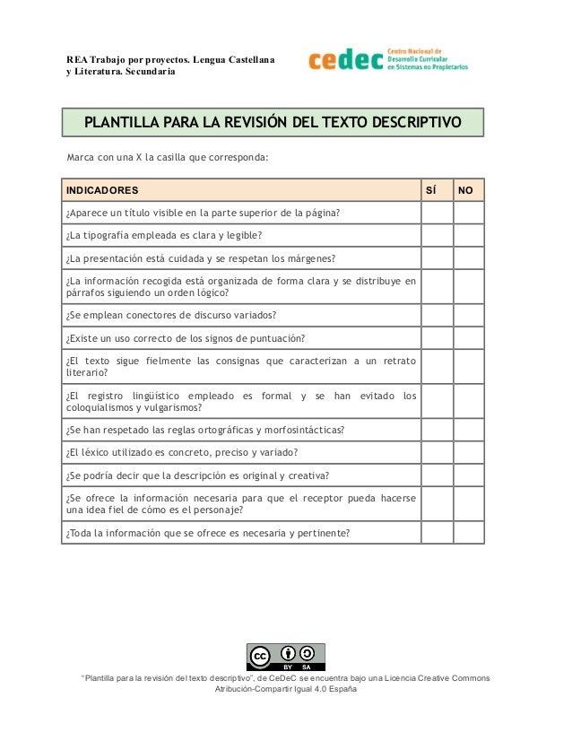 REA Trabajo por proyectos. Lengua Castellana y Literatura. Secundaria PLANTILLA PARA LA REVISIÓN DEL TEXTO DESCRIPTIVO Mar...