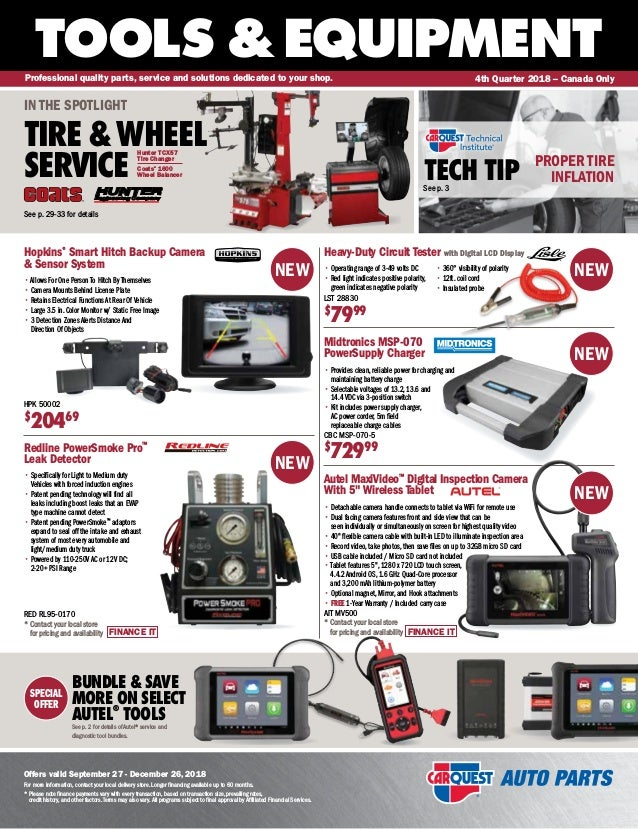 SPECIAL OFFER TOOLS &EQUIPMENT Offers valid September 27 - December 26, 2018 For more information, contact your local deli...
