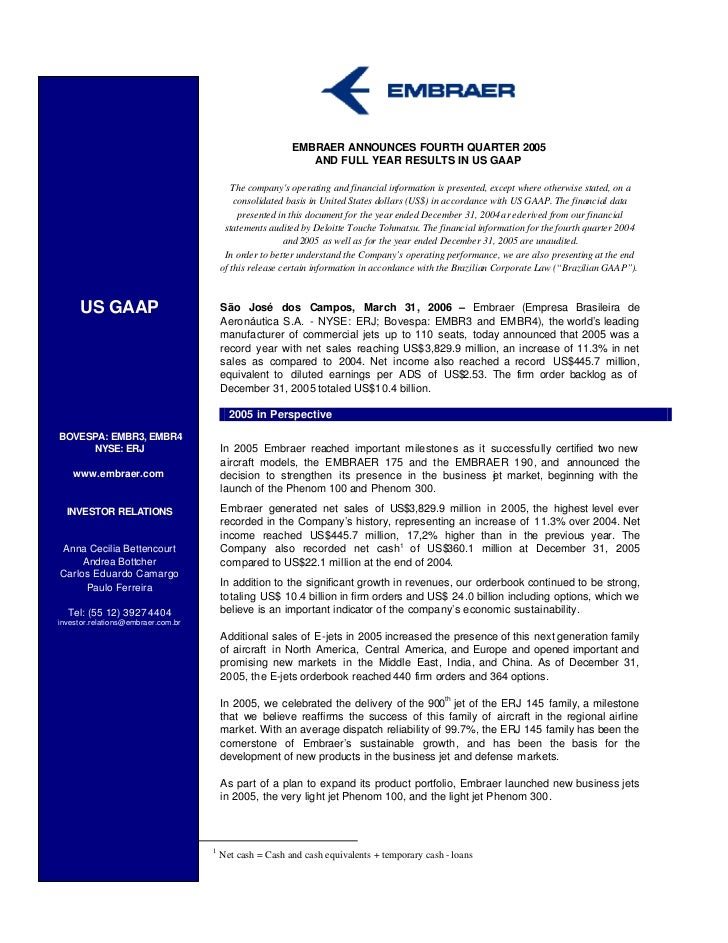 EMBRAER ANNOUNCES FOURTH QUARTER 2005                                                            AND FULL YEAR RESULTS IN ...