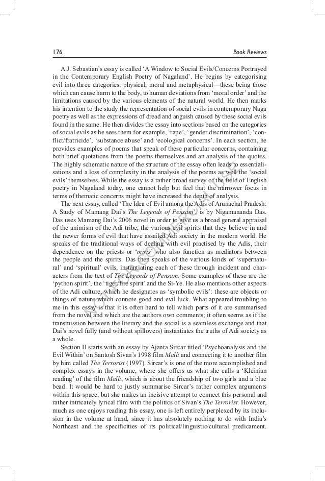 Essay about social evils