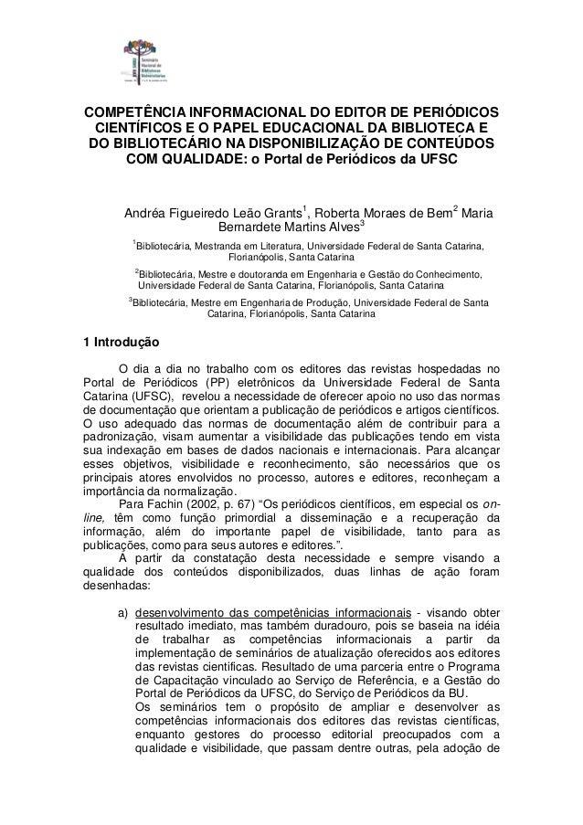 COMPETÊNCIA INFORMACIONAL DO EDITOR DE PERIÓDICOS CIENTÍFICOS E O PAPEL EDUCACIONAL DA BIBLIOTECA E DO BIBLIOTECÁRIO NA DI...