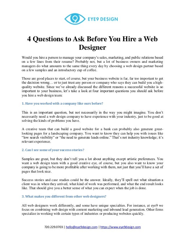 4 Questions To Ask Before You Hire A Web Designer Eye9design
