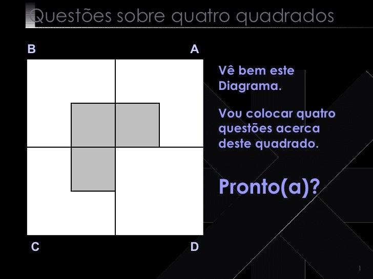 Questões sobre quatro quadrados B A D C Vê bem este Diagrama.   Vou colocar quatro questões acerca deste quadrado. Pronto(...