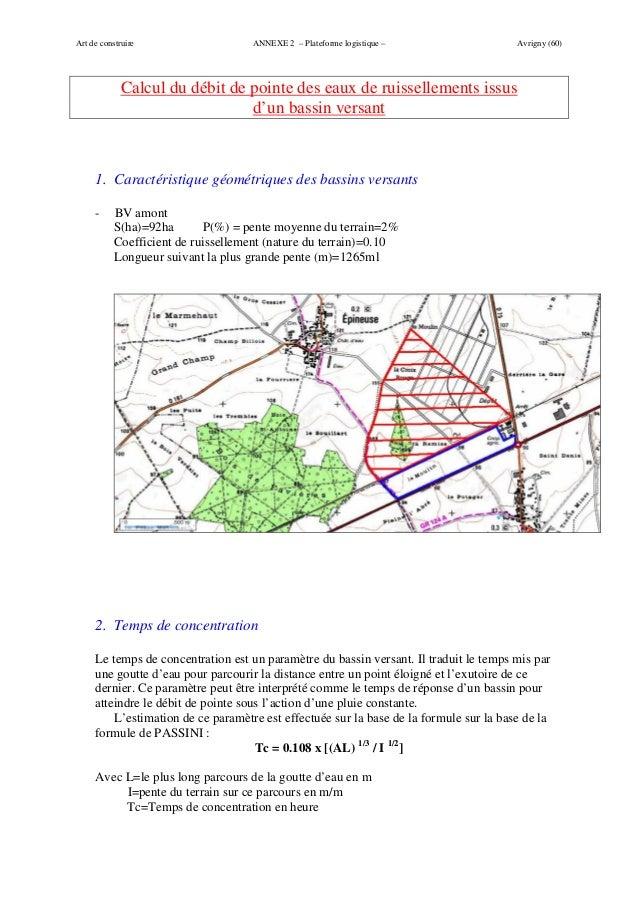 Art de construire                   ANNEXE 2 – Plateforme logistique –                  Avrigny (60)             Calcul du...