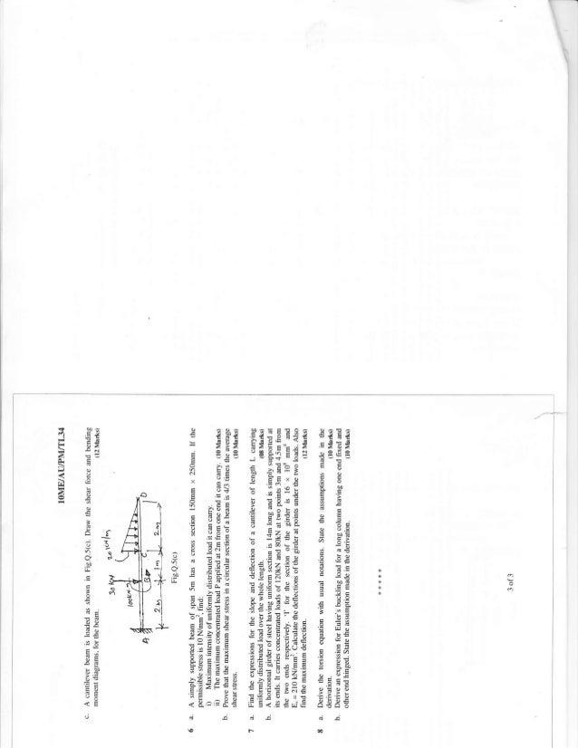4th Semester Mechanincal Engineering (2012-June) Question