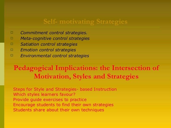 Self- motivating Strategies <ul><li>Commitment control strategies. </li></ul><ul><li>Meta-cognitive control strategies   <...