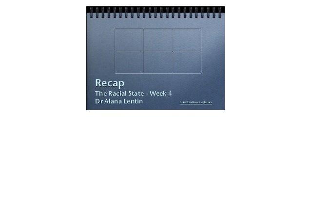 RecapThe Racial State - Week 4Dr Alana Lentin             a.lentin@uws.edu.au