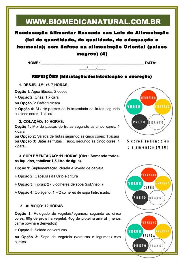 WWW.BIOMEDICANATURAL.COM.BR Reeducação Alimentar Baseada nas Leis da Alimentação (lei da quantidade, da qualidade, da adeq...