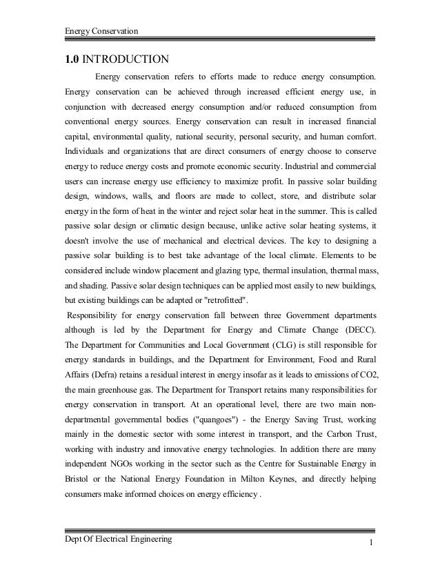 Energy Conservation Dept Of Electrical Engineering 1 1.0 INTRODUCTION Energy  Conservation Refers To Efforts Made To ...