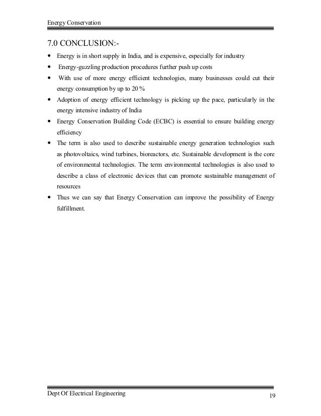 ENERGY CONSERVATION report in PDF