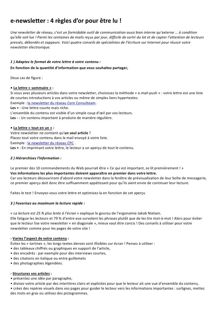 e-newsletter : 4 règles d'or pour être lu ! Une newsletter de réseau, c'est un formidable outil de communication aussi bie...