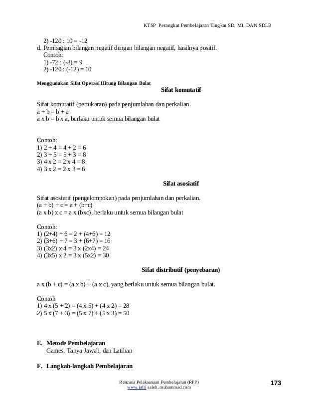 Rpp Matematika Operasi Hitung Bilangan Bulat Rpp Pelajaran Matematika Kelas 7 Materi Bilangan
