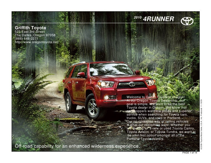 2010                                                               4RUNNER Griffith Toyota 523 East 3rd Street The Dalles,...