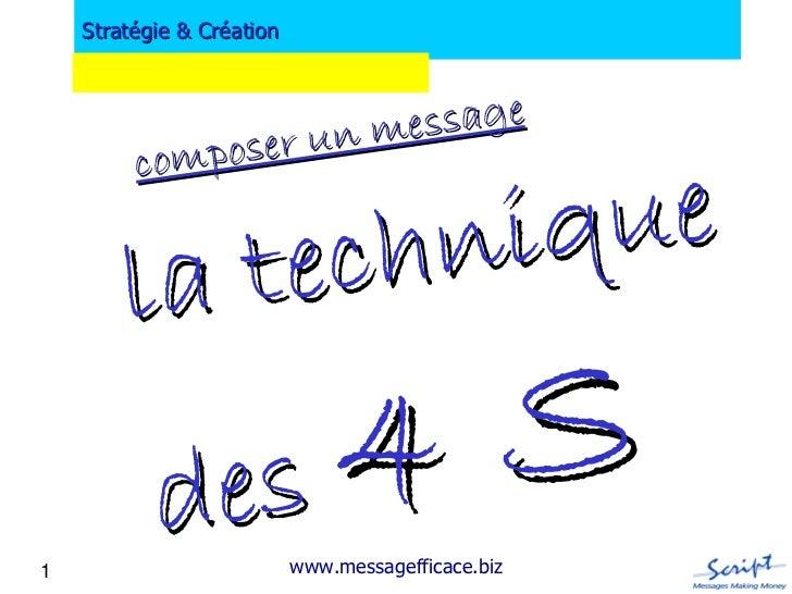 Stratégie & Création                er un m essage         compos           te chn iq ue        la           d es 4 S1    ...