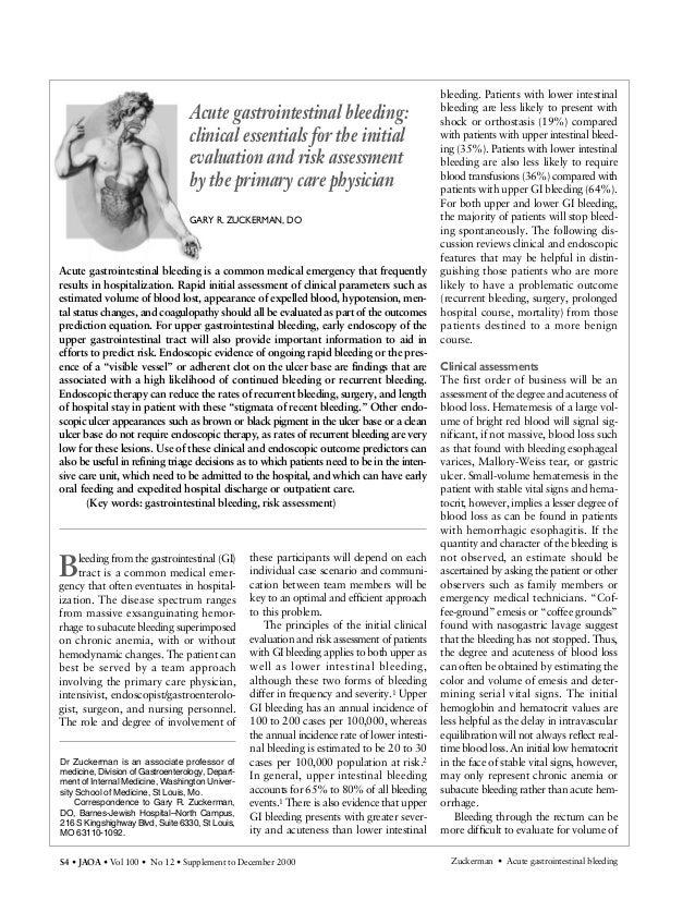 S4 • JAOA • Vol 100 • No 12 • Supplement to December 2000 Zuckerman • Acute gastrointestinal bleeding Bleeding from the ga...