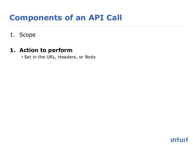 Components of an API Call 1. Scope 1. Action to perform • Set in the URL, Headers, or Body